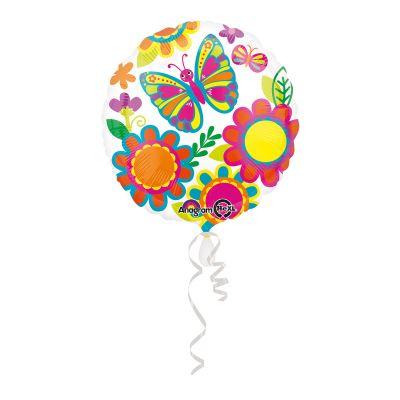 Kelebek Çiçekler Şeffaf Folyo Balon 43cm