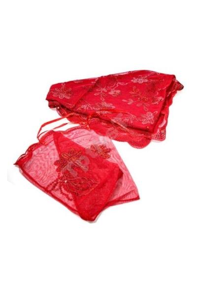 Tül Kına Duvağı Ve Eldiveni Set Pullu Kırmızı 1 Adet