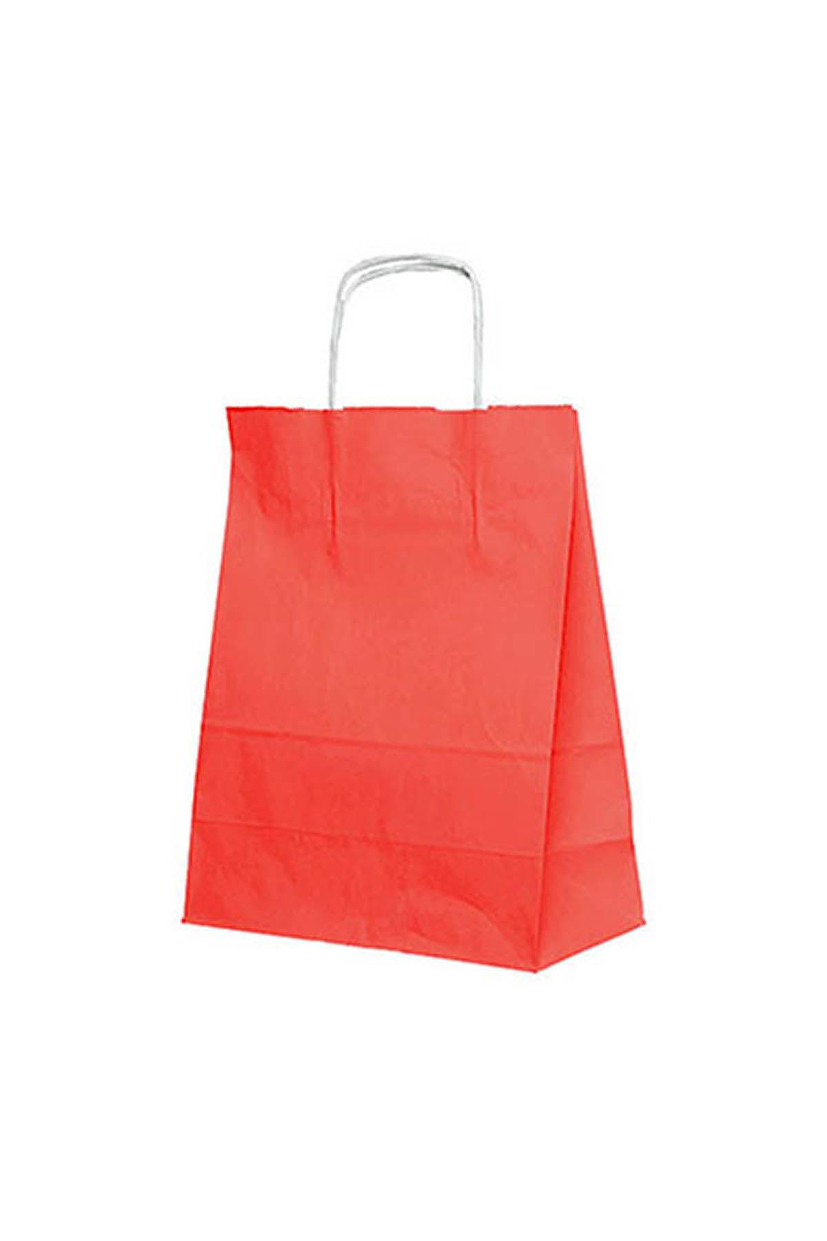Kraft Çanta Kırmızı Orta 25li