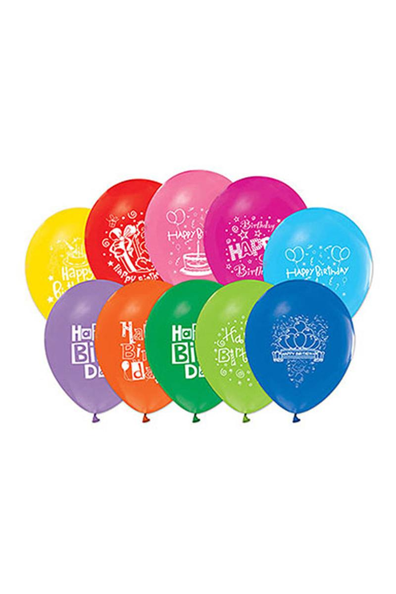 1 Yaş Baskılı Renkli Balon 10lu