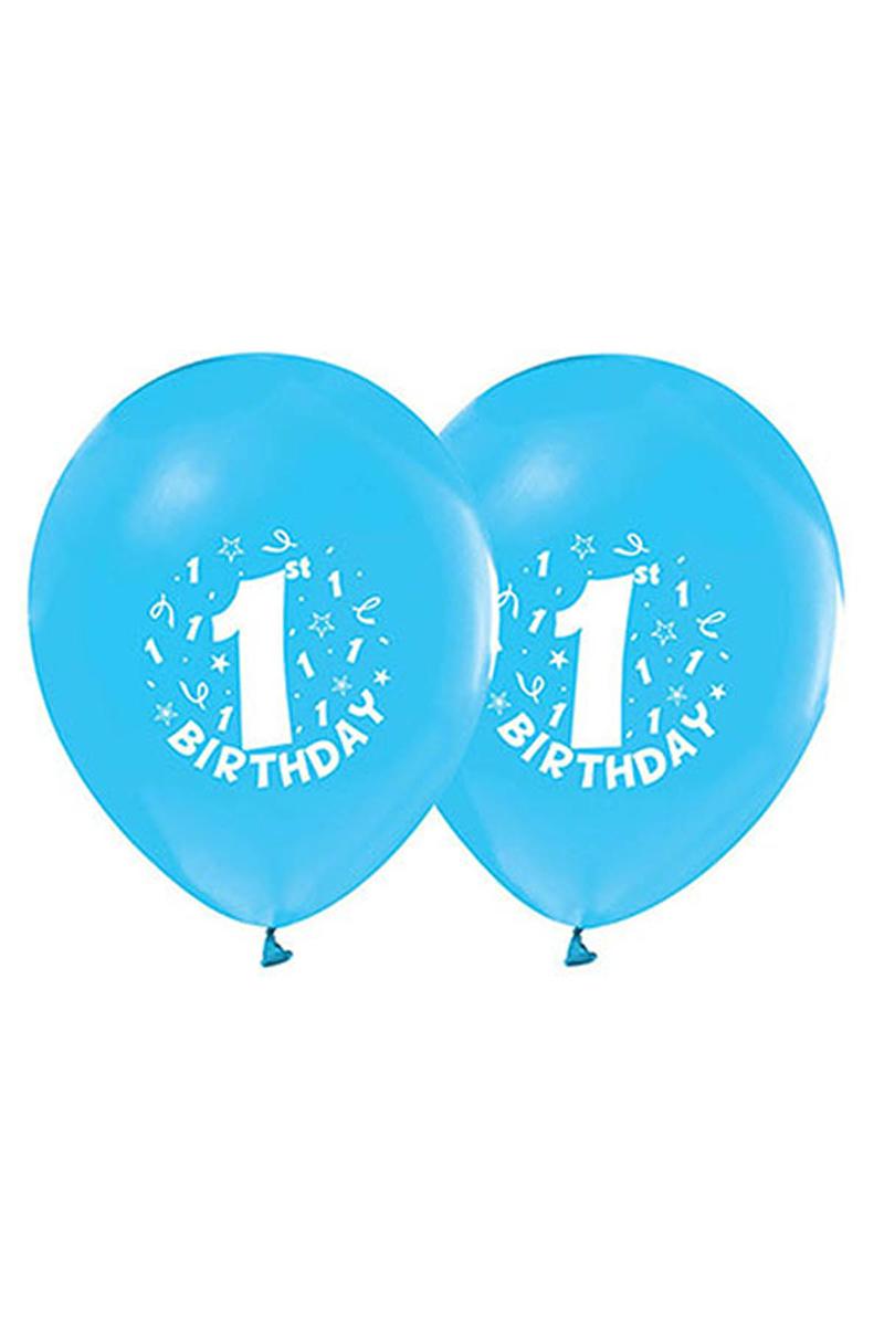 1 Yaş Baskılı Mavi Balon 10lu