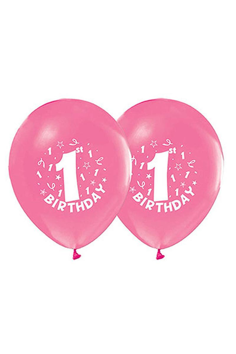 1 Yaş Baskılı Pembe Balon 10lu