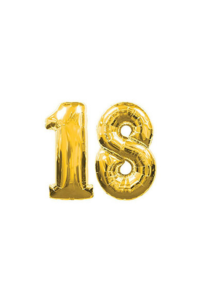 18 Yaş Altın Folyo Balon 40cm (16 inch) 1 Adet