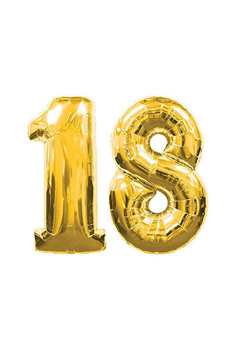 18 Yaş Altın Folyo Balon 90cm (40 inch) 1 Adet