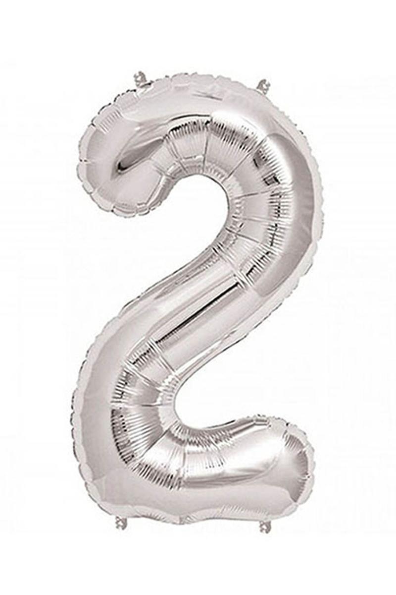 2 Rakam Gümüş Folyo Balon 90cm (40 inch) 1 Adet