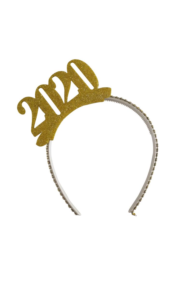 2020 Yılbaşı Altın Simli Eva Taç 1 Adet
