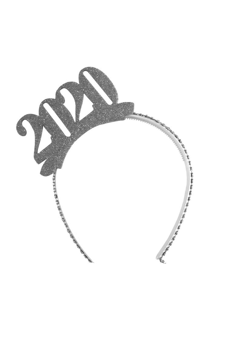 2020 Yılbaşı Gümüş Simli Eva Taç 1 Adet