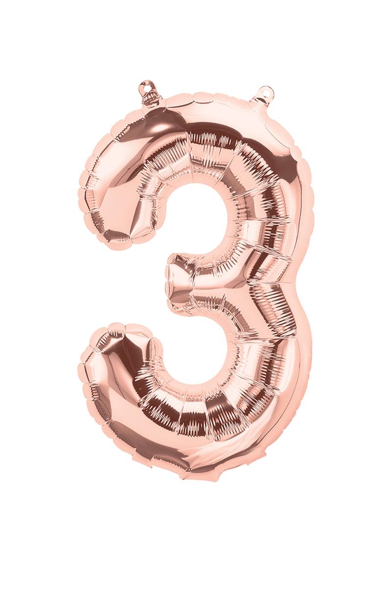 3 Rakam Folyo Balon Rose Gold 90cm (40inch) 1 Adet
