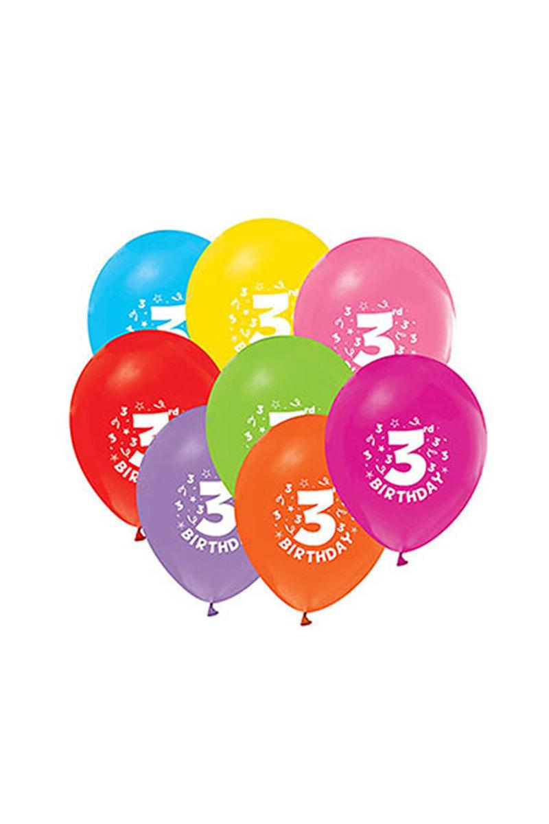 3 Yaş Baskılı Balon 10lu