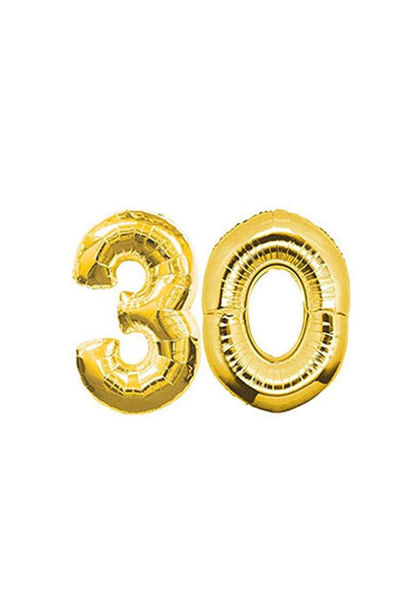 30 Yaş Altın Folyo Balon 40cm (16 inch) 1 Adet