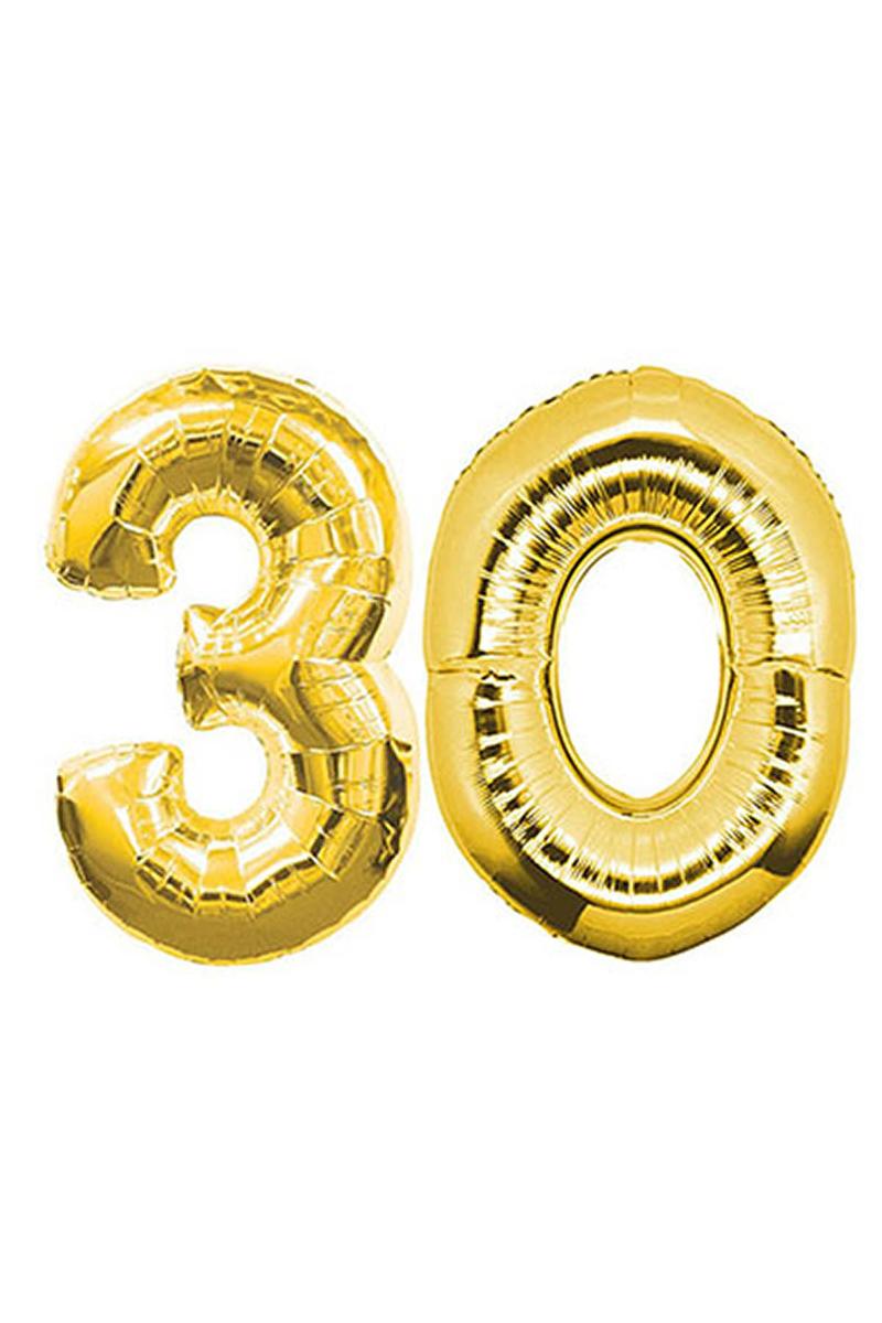 30 Yaş Altın Folyo Balon 90cm (40 inch) 1 Adet