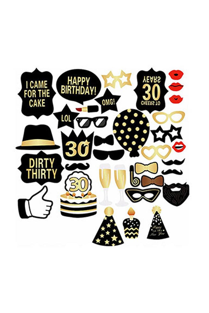 30 Yaş Doğum Günü Fotoğraf Çekme Çubukları 26lı