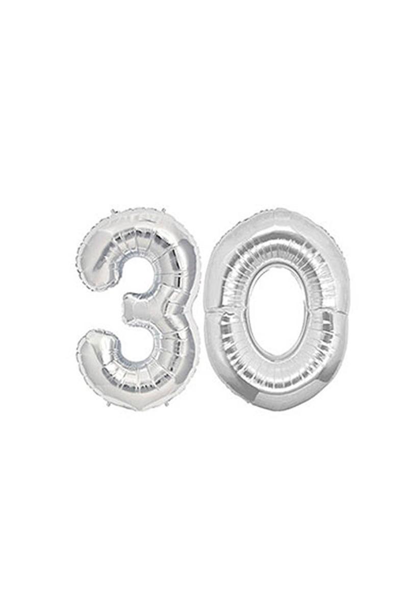 30 Yaş Gümüş Folyo Balon 40cm (16 inch) 1 Adet