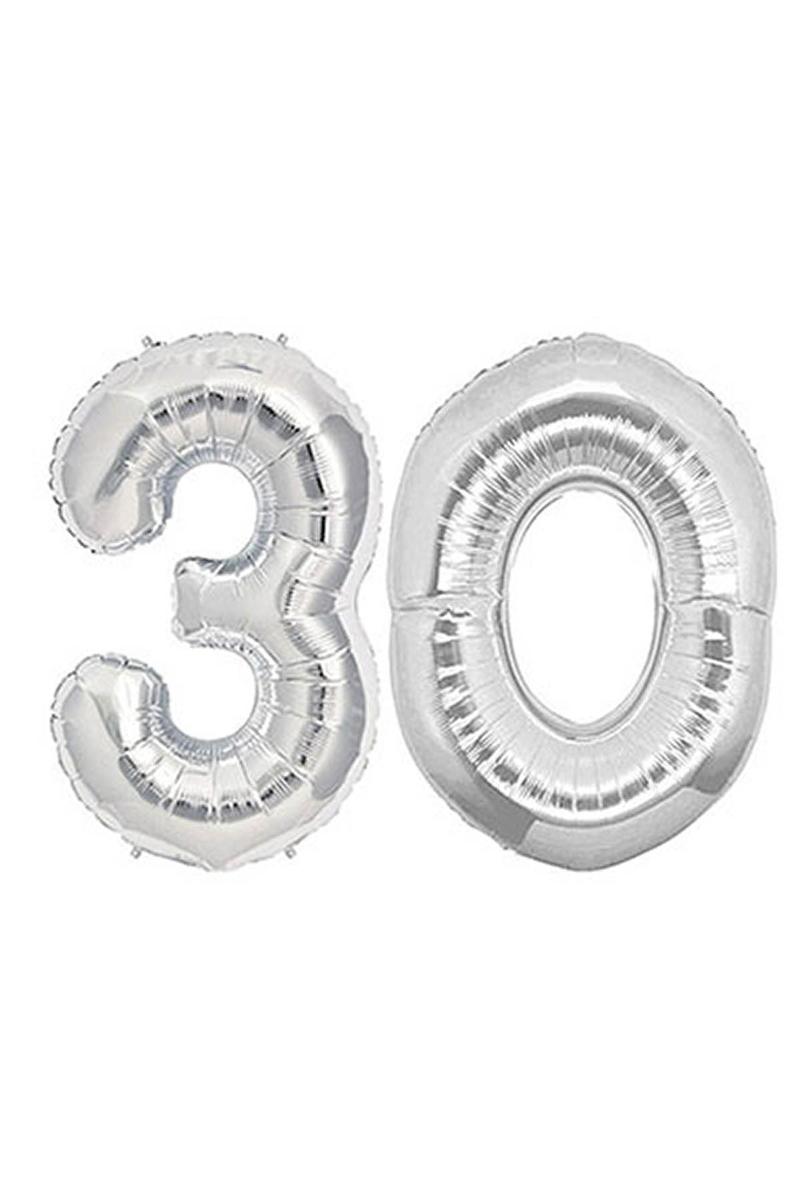 30 Yaş Gümüş Folyo Balon 90cm (40 inch) 1 Adet