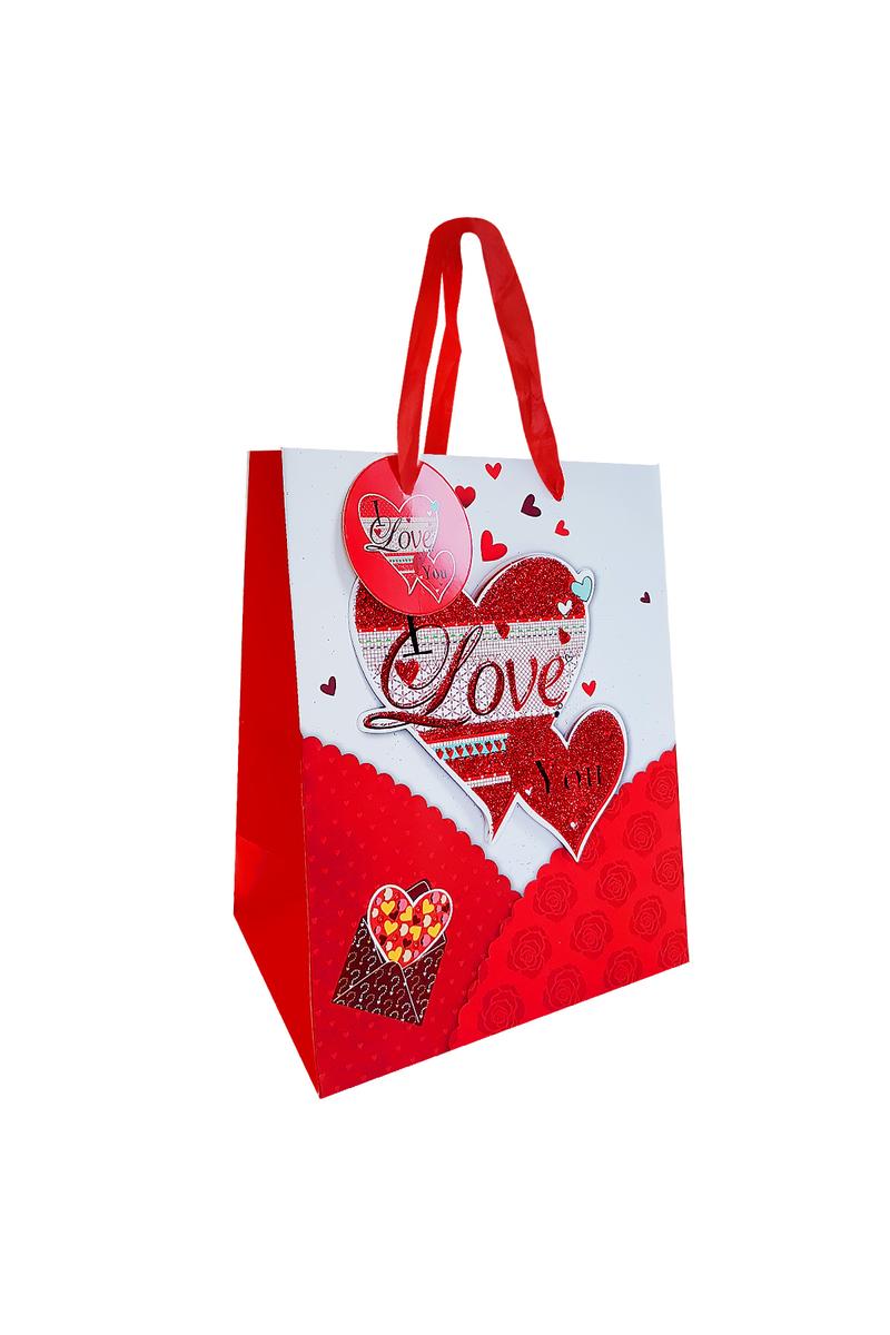 3D Kalpler Love Baskılı Karton Hediye Çantası 18 x 23 x 10cm 1 Adet