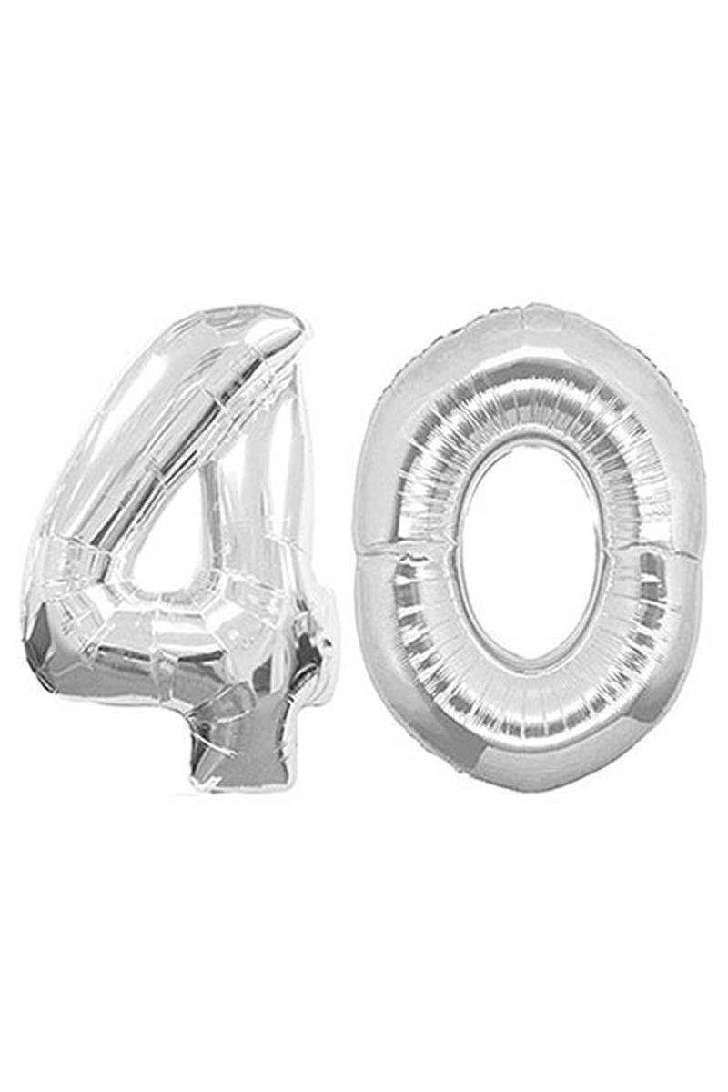 40 Yaş Gümüş Folyo Balon 90cm (40 inch) 1 Adet