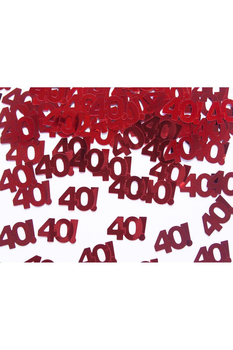 40 Yaş Metalik Kırmızı Masa Konfetisi 15gr