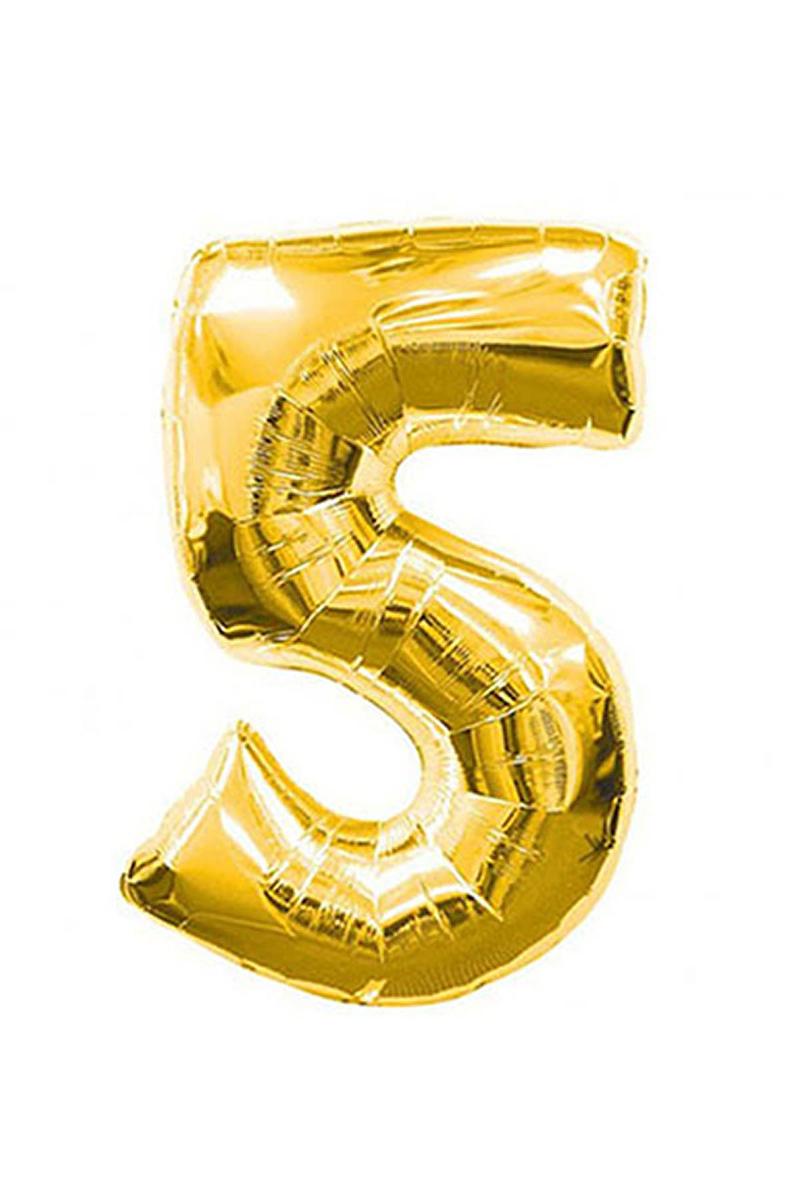 5 Rakam Altın Folyo Balon 90cm (40 inch) 1 Adet