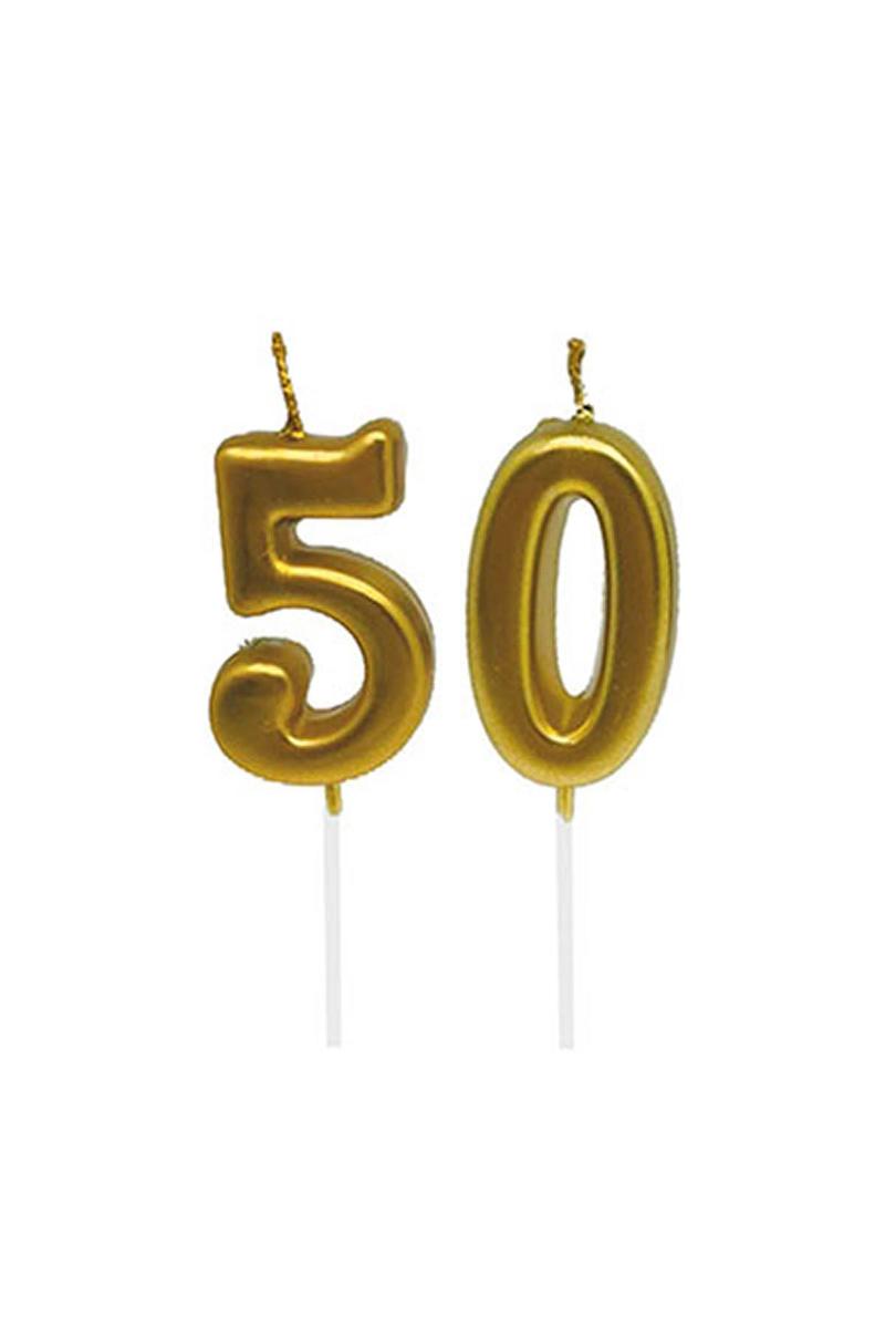 50 Yaş Mum Seti Altın