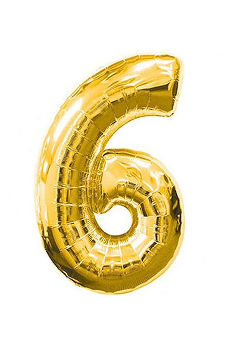 6 Rakam Altın Folyo Balon 90cm (40 inch) 1 Adet