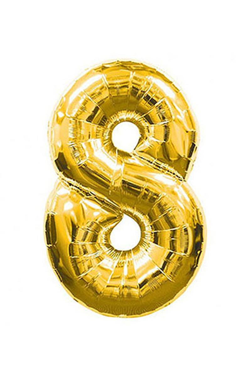8 Rakam Altın Folyo Balon 90cm (40 inch) 1 Adet
