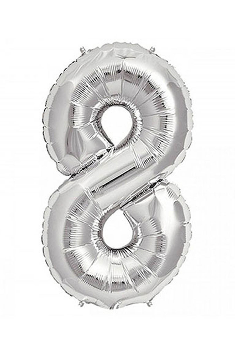 8 Rakam Gümüş Folyo Balon 90cm (40 inch) 1 Adet