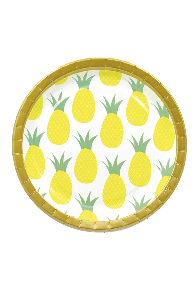 Altın Ananas Kağıt Tabak 23cm 8li