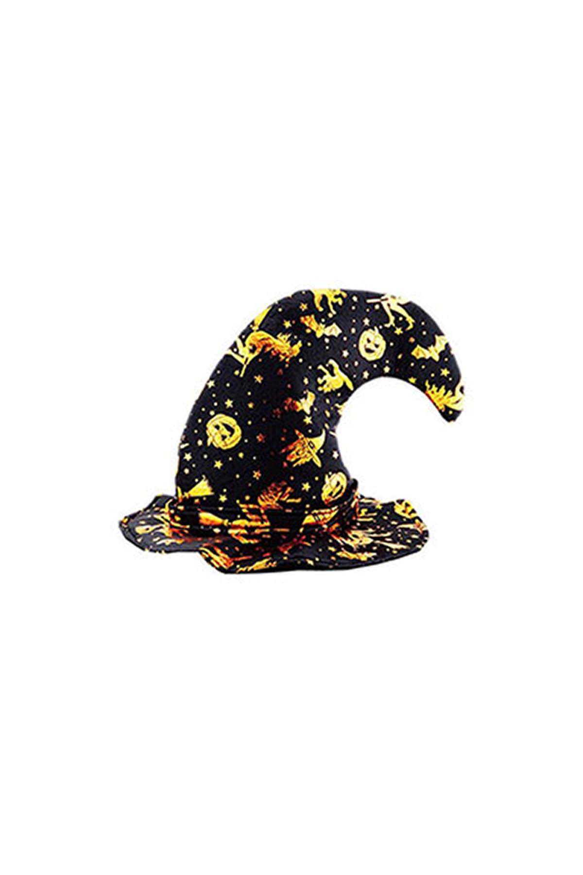 Altın Baskılı Kalın Halloween Cadı Şapkası