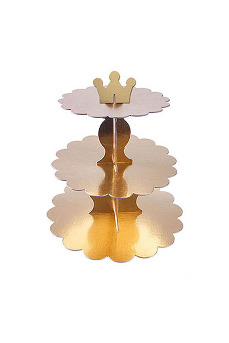 Altın Karton Cupcake Standı 3 Katlı 1 Adet