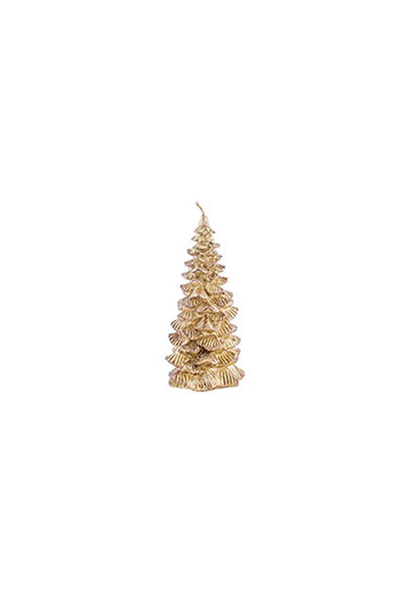 Altın Dekoratif Çam Ağacı Mum 1 Adet