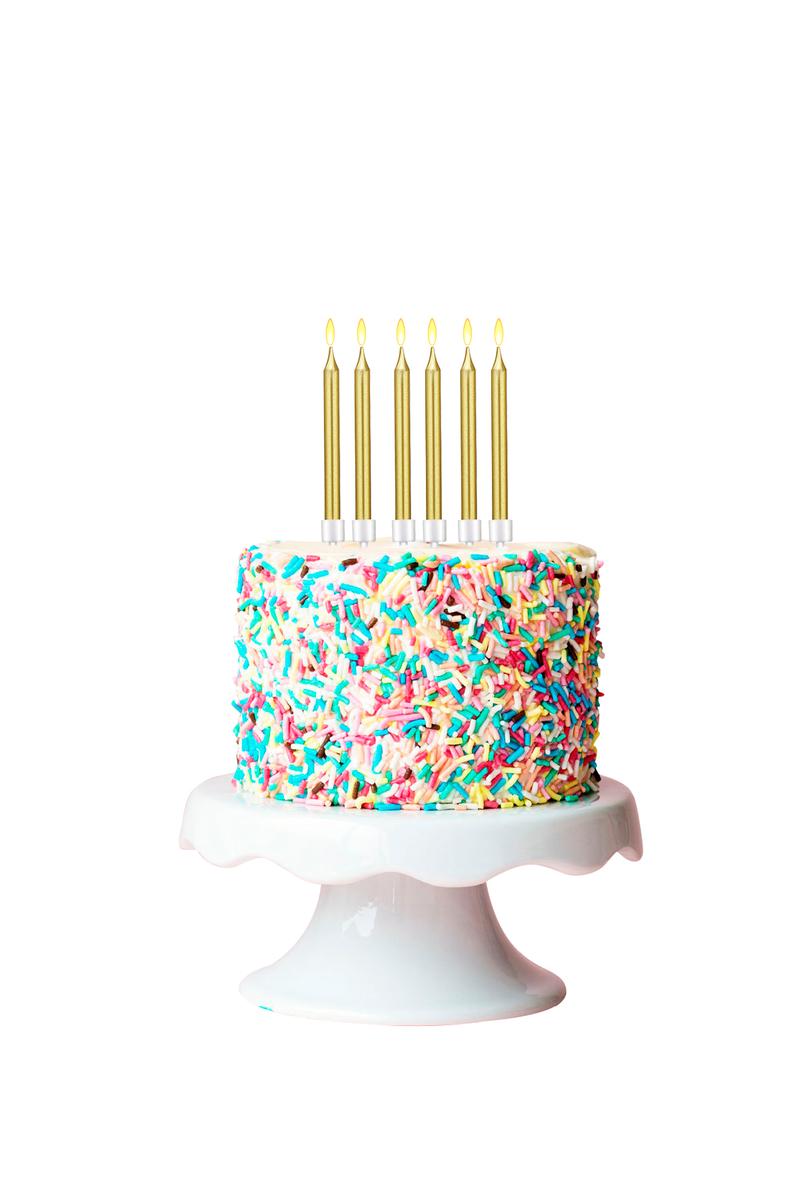Altın Doğum Günü Mumu ve Altlık Set 12cm 6lı - Thumbnail