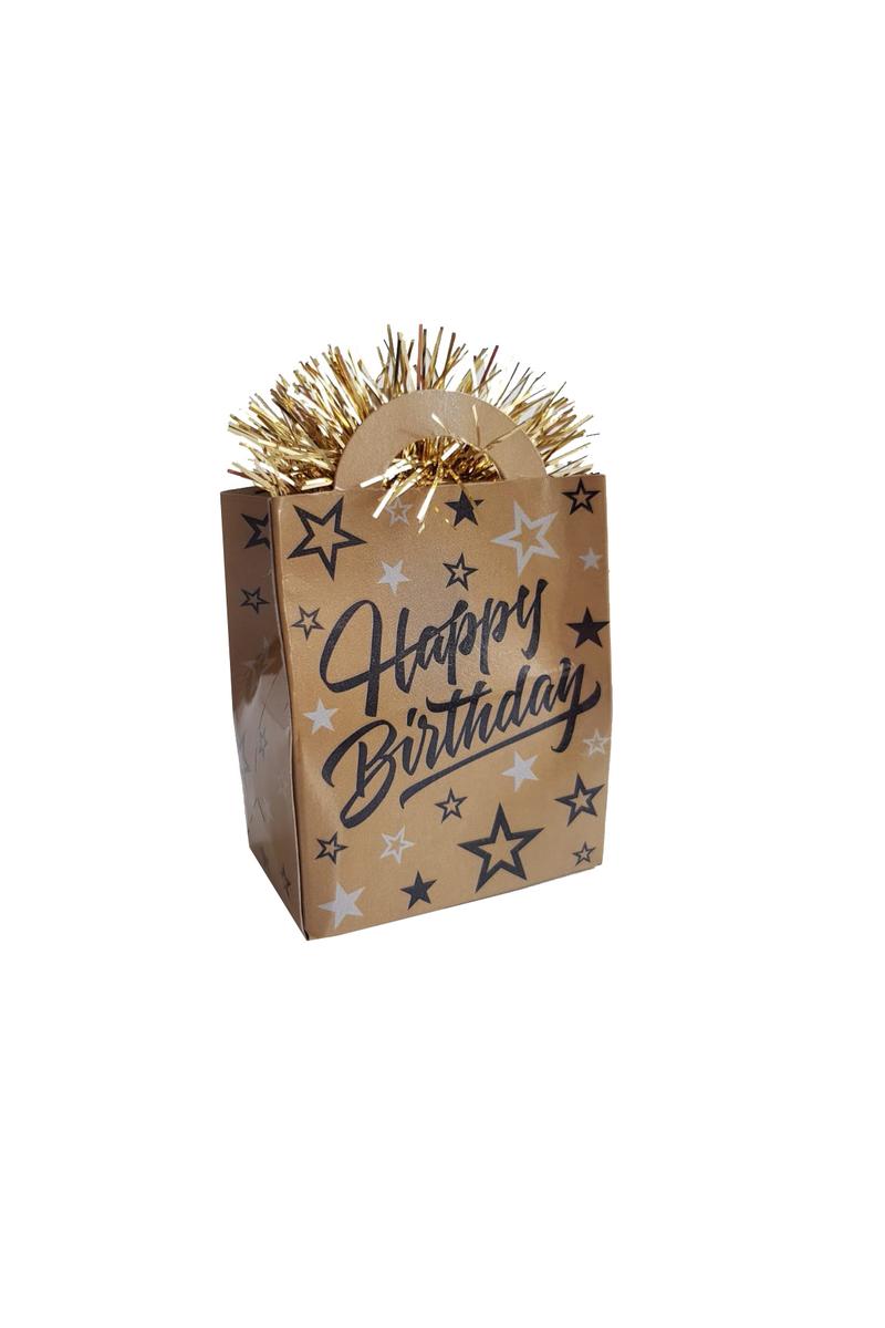 Altın Happy Birthday Çanta Şekilli Folyo Balon Ağırlığı 1 Adet