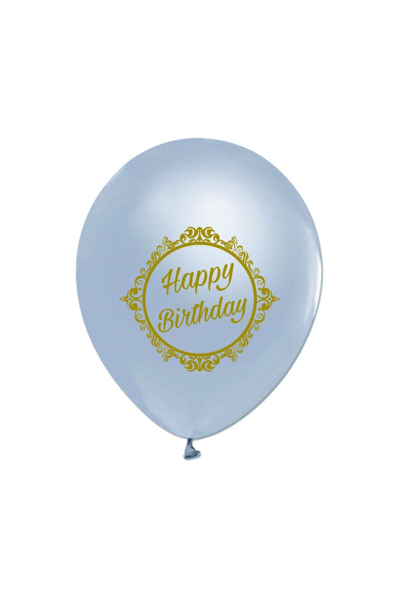 Altın Happy Birthday Baskılı Gümüş Balon 10lu