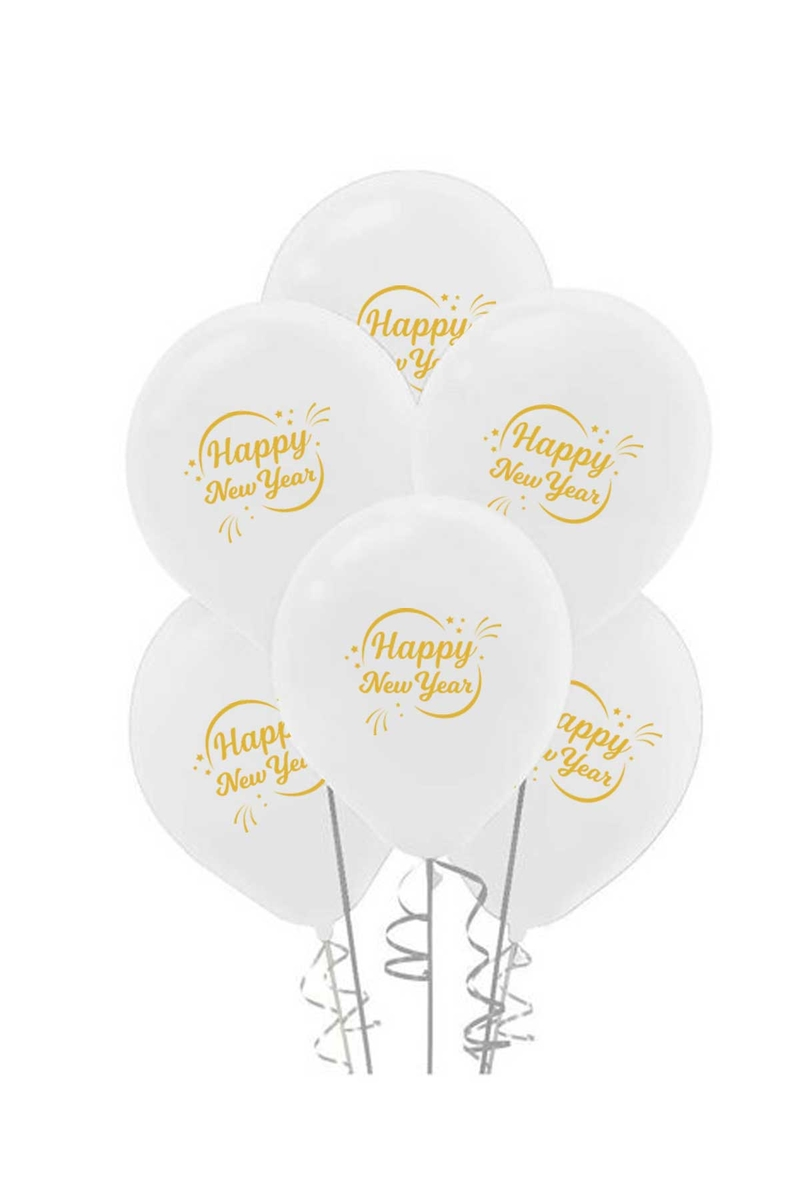Altın Happy New Year Baskılı Beyaz Balon 10lu