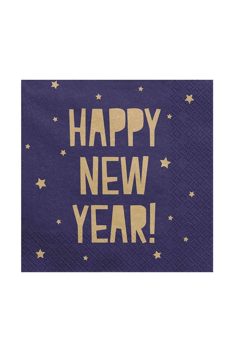 Altın Happy New Year Desenli Lacivert Kağıt Peçete 33x33cm 20li