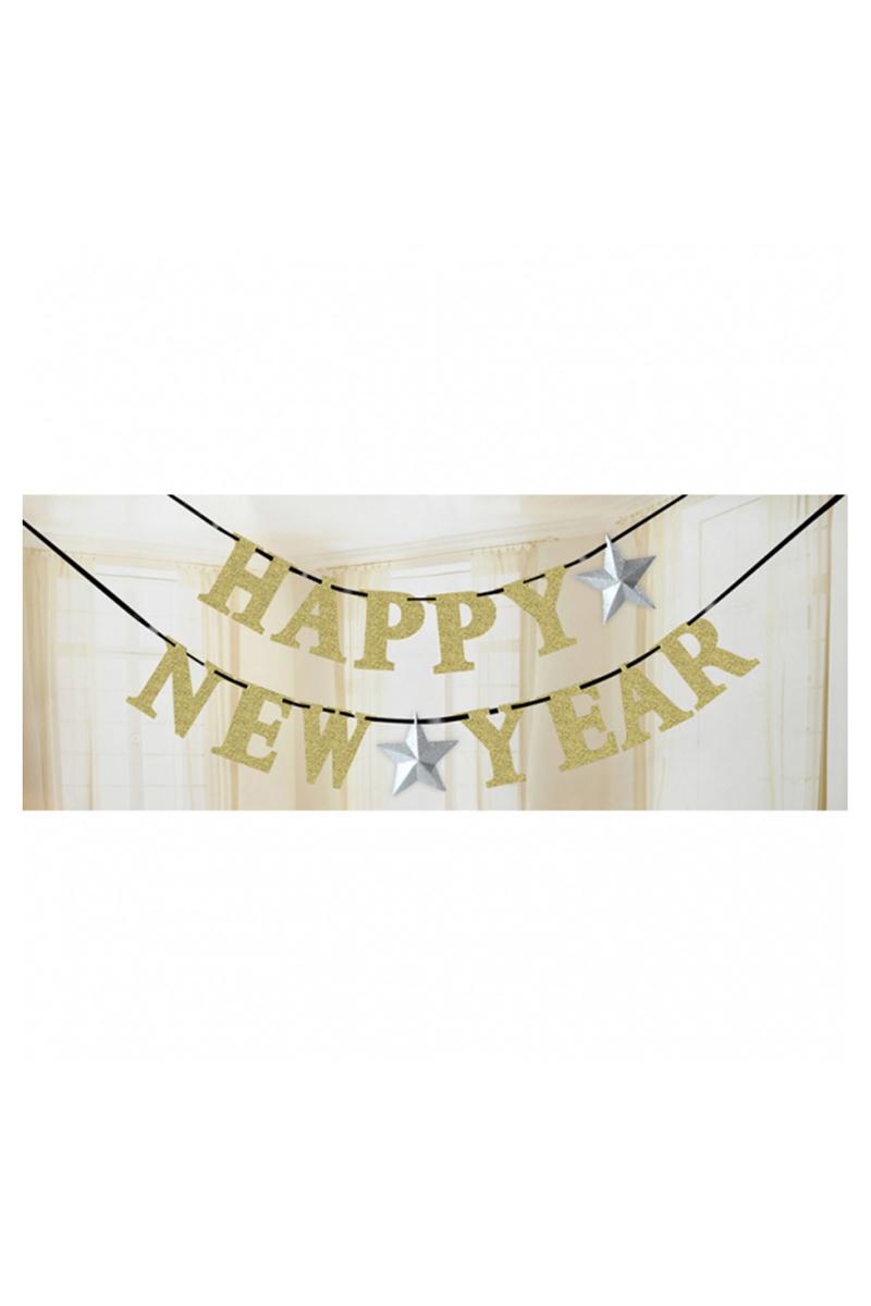 Altın Happy New Year Harf Afiş 1 Adet