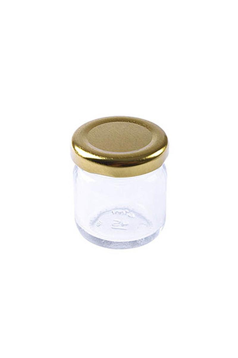Mini Cam Kavanoz Altın Kapaklı 40cc 5li