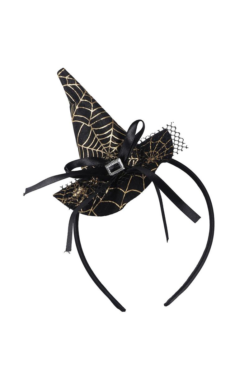 Altın Örümcek Ağı Desenli Şapkalı Taç Siyah 1 Adet