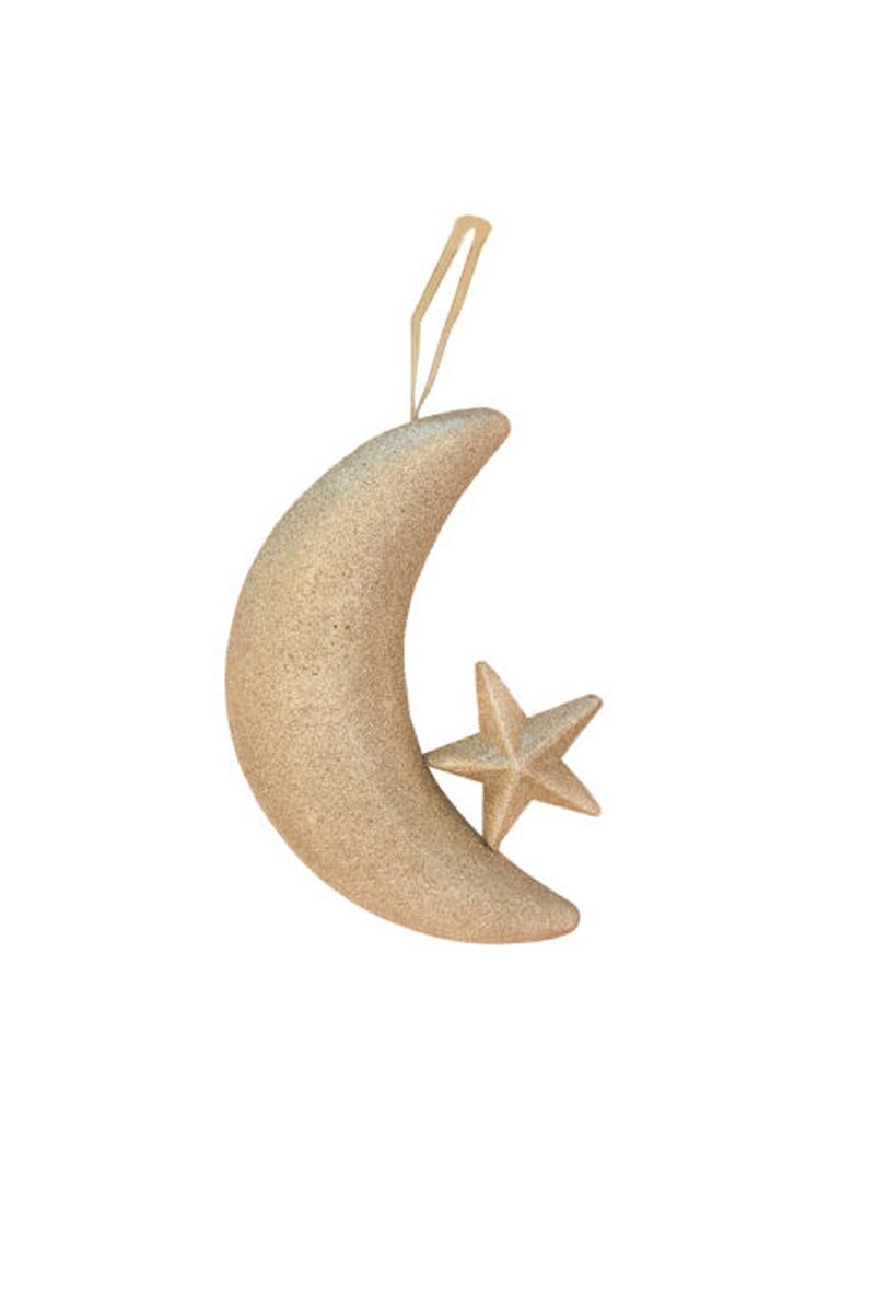 Altın Simli Ay-Yıldız Stafor Dekor Süs 20x30cm 1 Adet