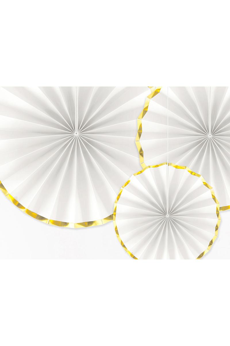 Altın Yaldızlı Beyaz Yelpaze Süs Seti 3lü - Thumbnail
