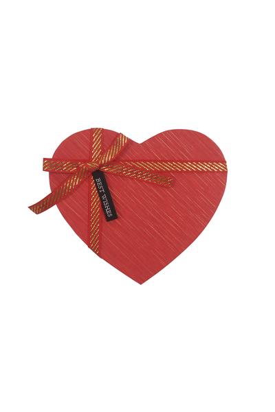Altın Yaldızlı Kırmızı Kurdeleli Kalp Hediye Kutusu 17x16x7cm 1 Adet
