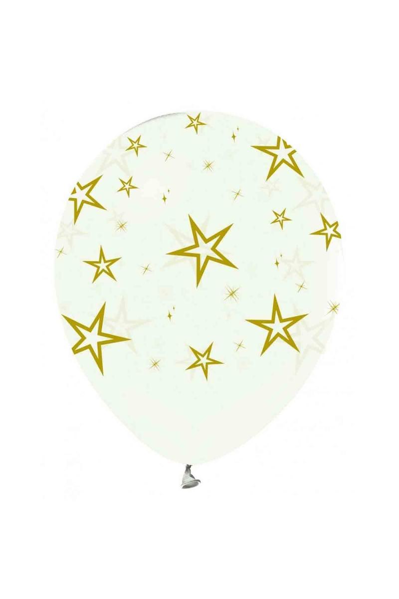 Altın Yıldız Baskılı Şeffaf Balon 10lu