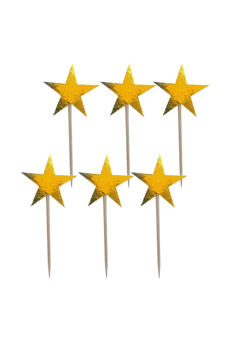 Altın Yıldız Dekoratif Kağıt Kürdan 15li