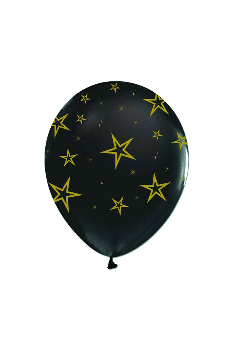 Altın Yıldızlar Baskılı Siyah Balon 10lu