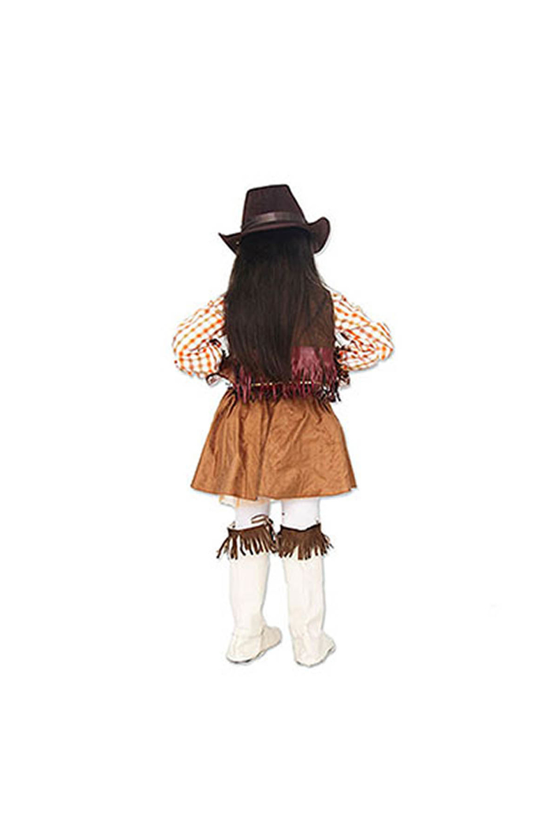 Amerikan Kovboy Kız Çocuk Kostümü 5-6 Yaş 1 Adet - Thumbnail