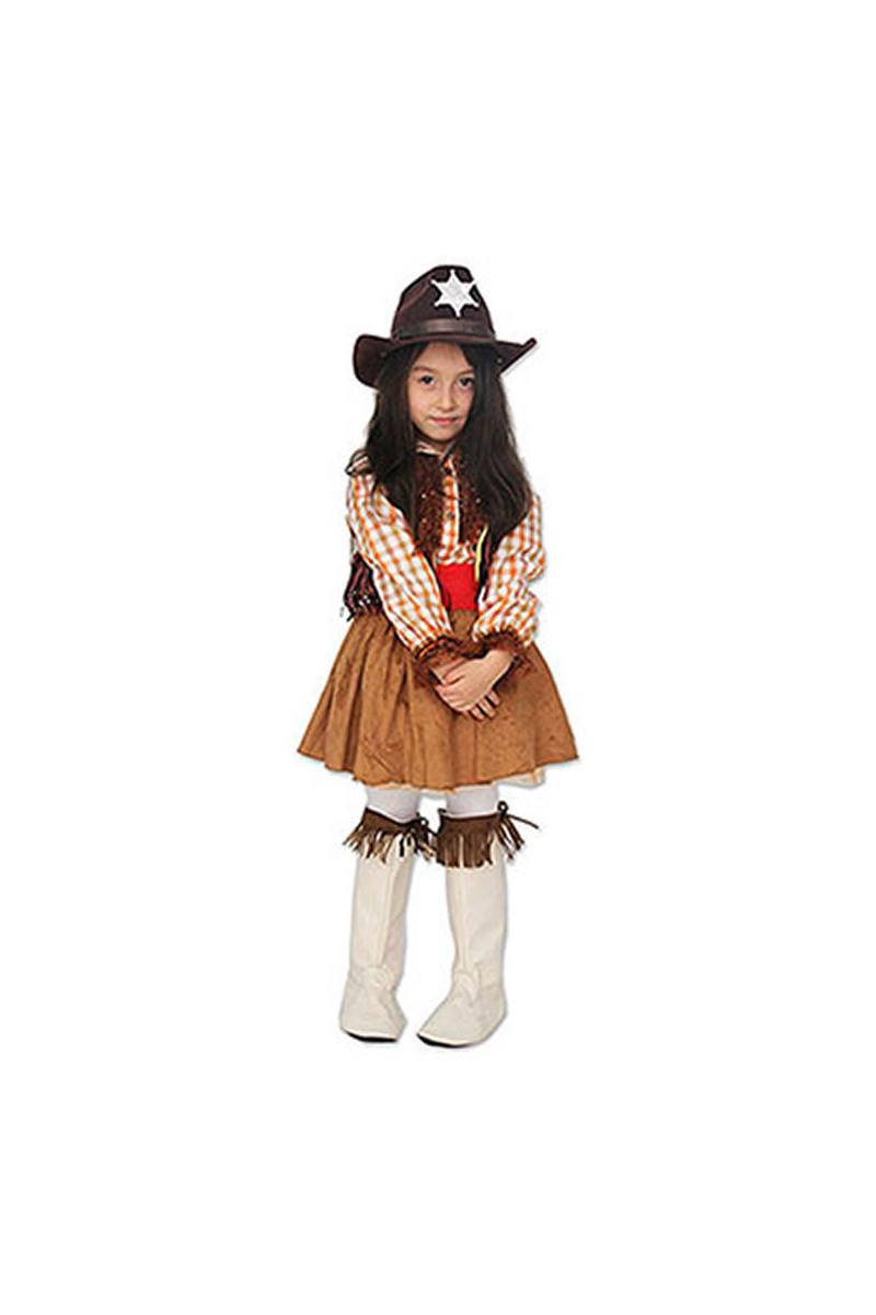Amerikan Kovboy Kız Çocuk Kostümü 7-8 Yaş 1 Adet - Thumbnail