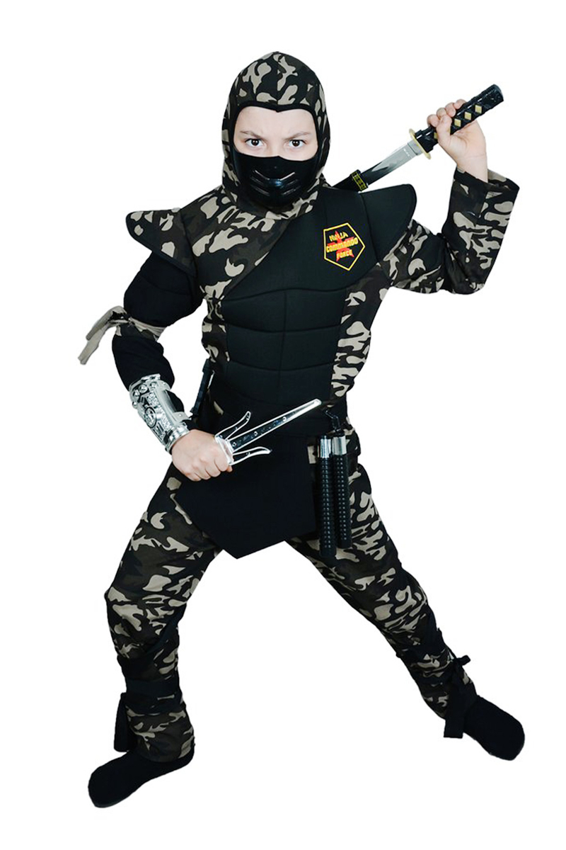 Askeri Komando Ninja Çocuk Kostümü Lüks 7-8 Yaş 1 Adet - Thumbnail