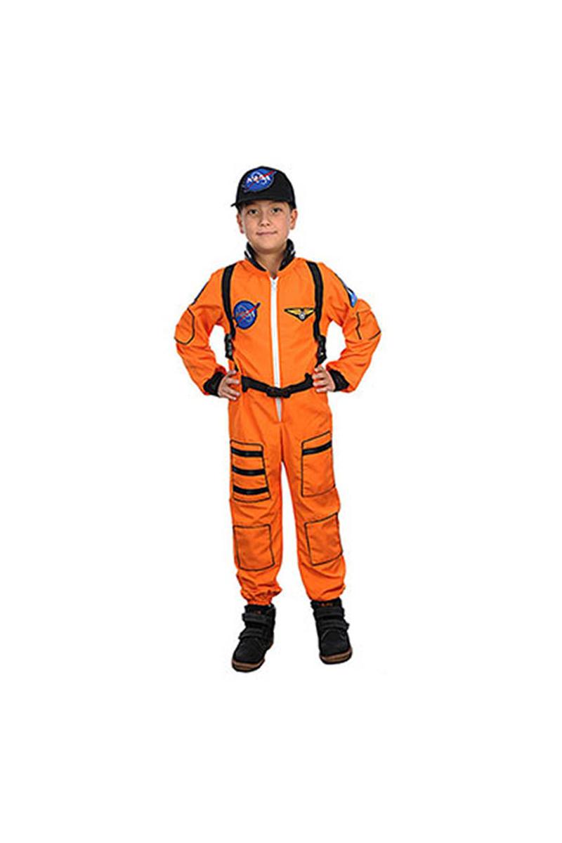 Turuncu Astronot Çocuk Kostüm 7-8 Yaş 1 Adet