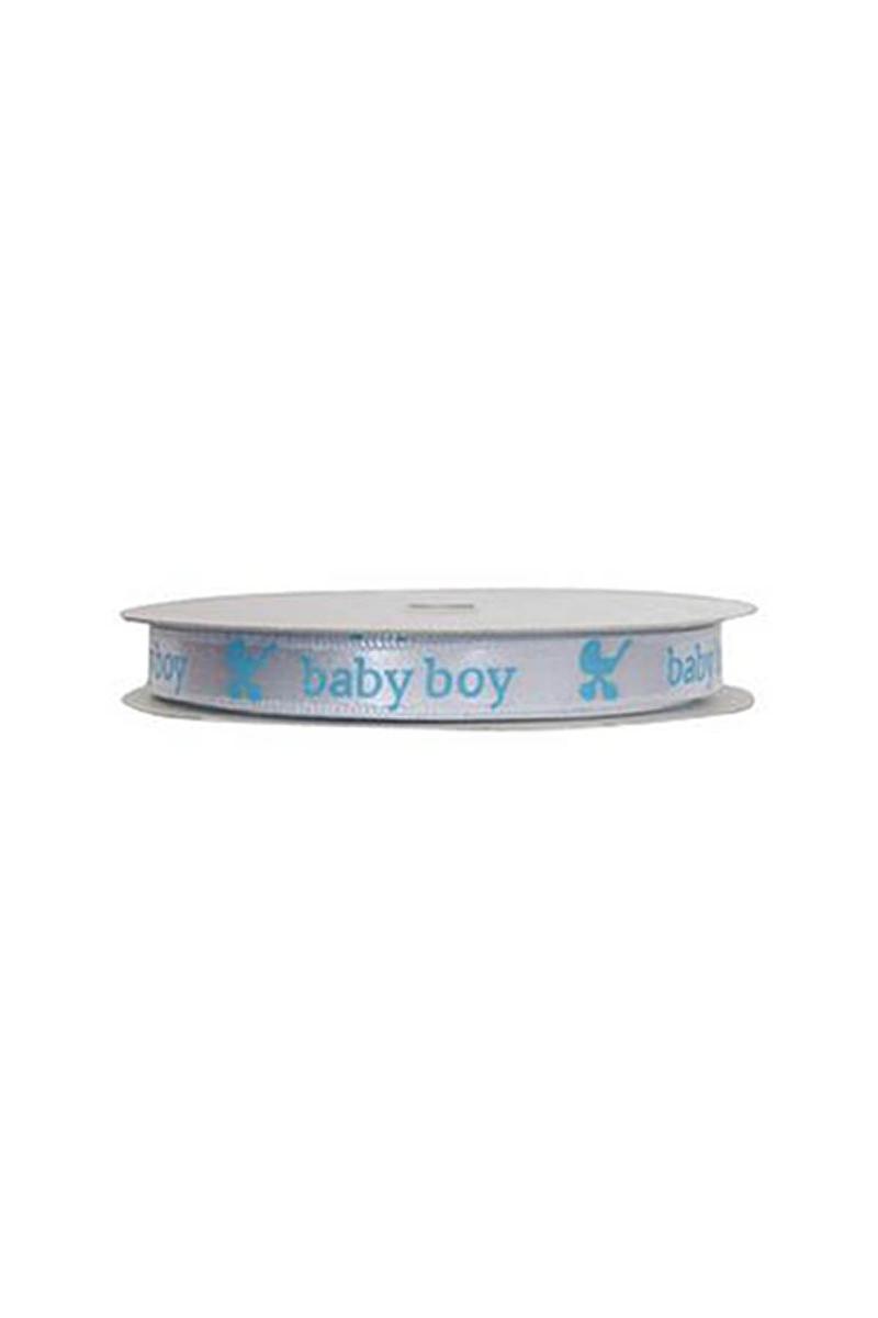 Mavi Baby Boy Beyaz Saten Kurdele 1 Adet