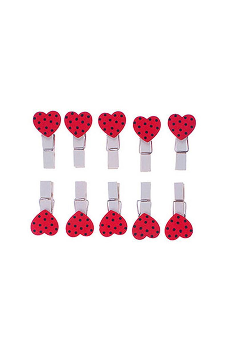 Kırmızı Benekli Kalp Mandal 10lu